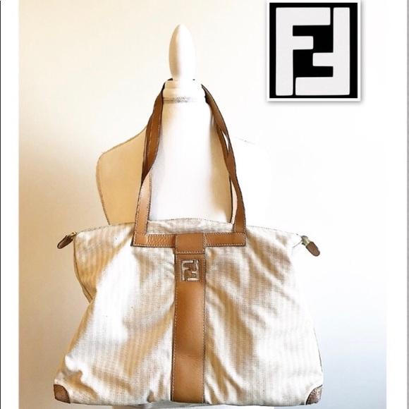 a9295accde50 Fendi Handbags - Vintage Fendi striped tote bag with leather interi